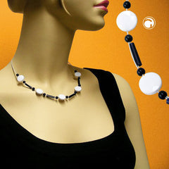 NECKLACE BEADS WHITE-BLACK 45CM