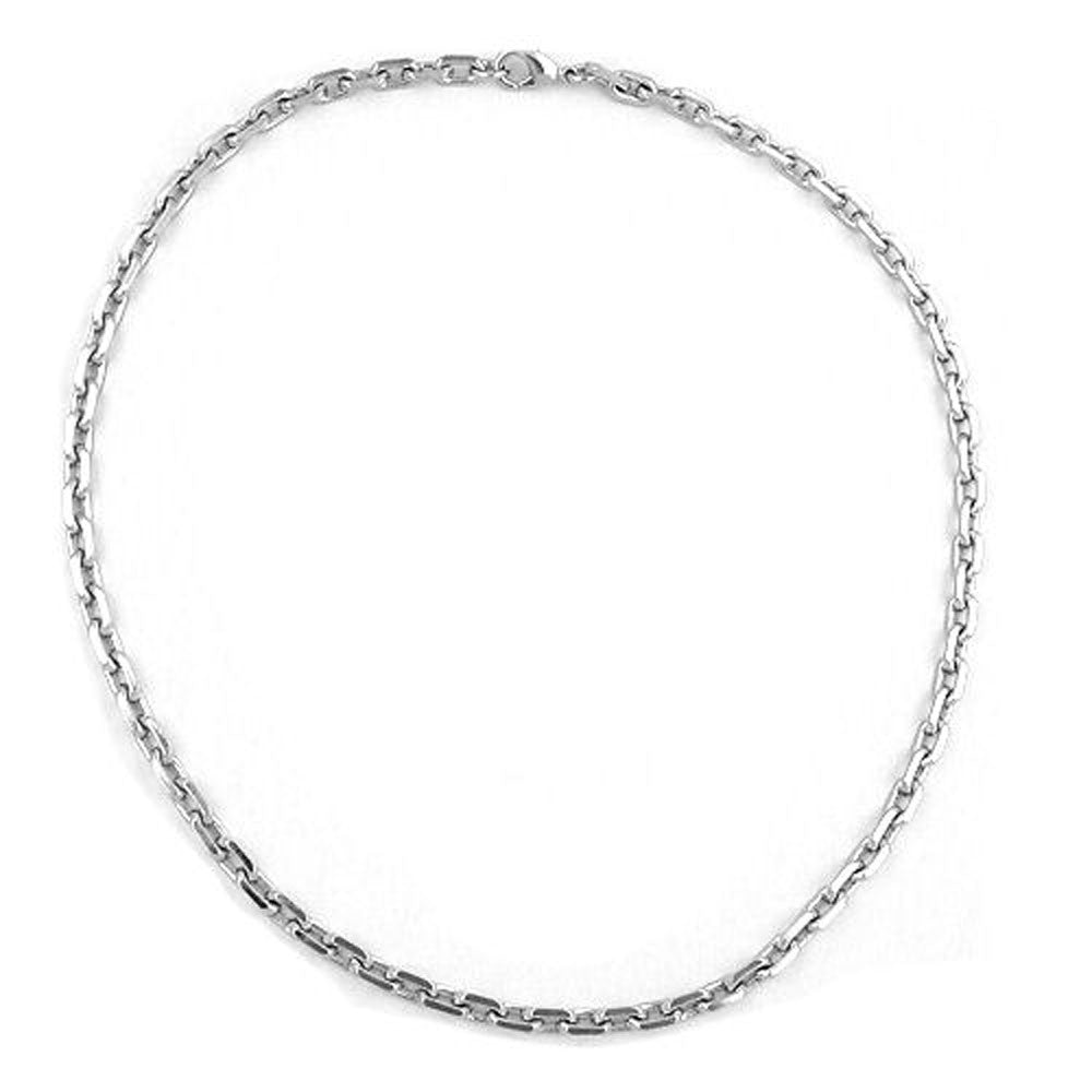 NECKLACE ANCHOR CHAIN 6MM RHODIUM PLATED 50CM