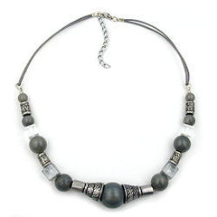 NECKLACE SILVERGREY SILKY ANTIQUE SILVER BEADS 45CM