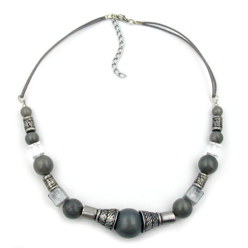 NECKLACE SILVERGREY SILKY ANTIQUE SILVER BEADS