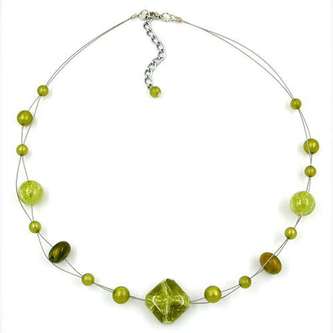 NECKLACE BEADS GREEN-OLIVE 45CM