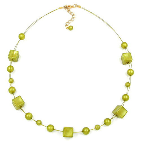 NECKLACE CUBE BEADS GREEN-OLIVE 45CM
