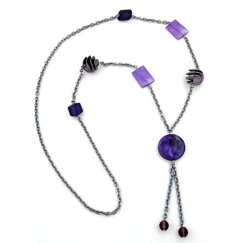 NECKLACE BEADS LILAC-LAVENDER-GRAY 95CM