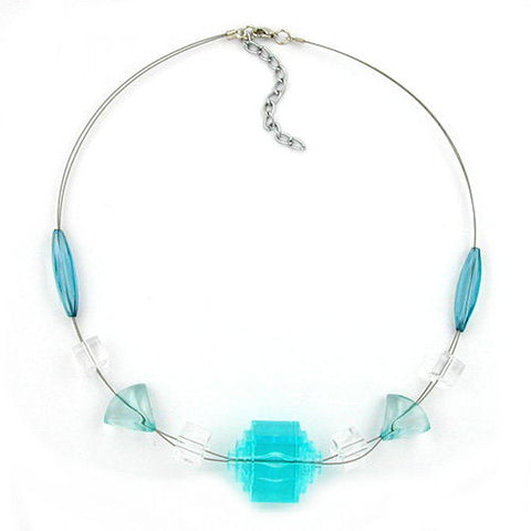 NECKLACE EYE-CATCHING BEAD AQUA