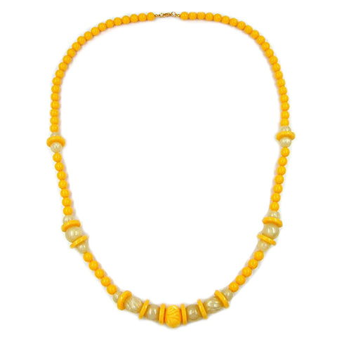 NECKLACE ENGRAVED BEAD YELLOW 75CM