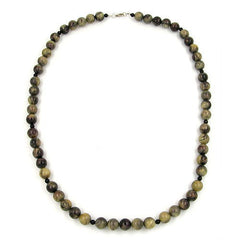 NECKLACE BEADS 8MM OLIVE GREEN/ GREY MARBLED 50CM