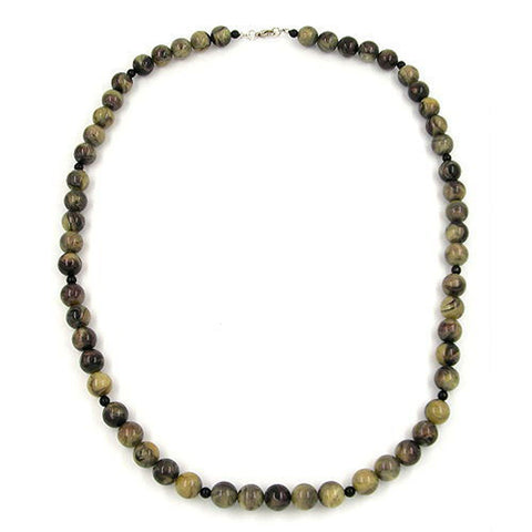 NECKLACE BEADS 8MM OLIVE GREEN/ GREY MARBLED