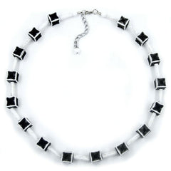 NECKLACE DICE 10MM BLACK-WHITE-GREY 45CM