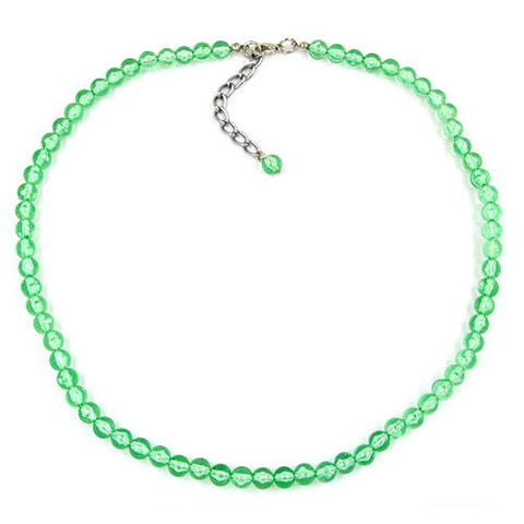 NECKLACE BEADS 6MM GREEN/TRANSPARENT