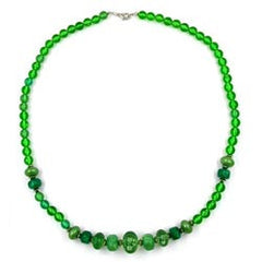 NECKLACE BEADS GREEN 60CM