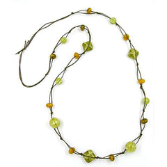 NECKLACE BEADS OLIVE-CRASH 110CM