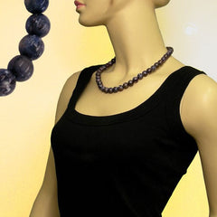 NECKLACE BEADS 12MM GREY-LILAC 50CM