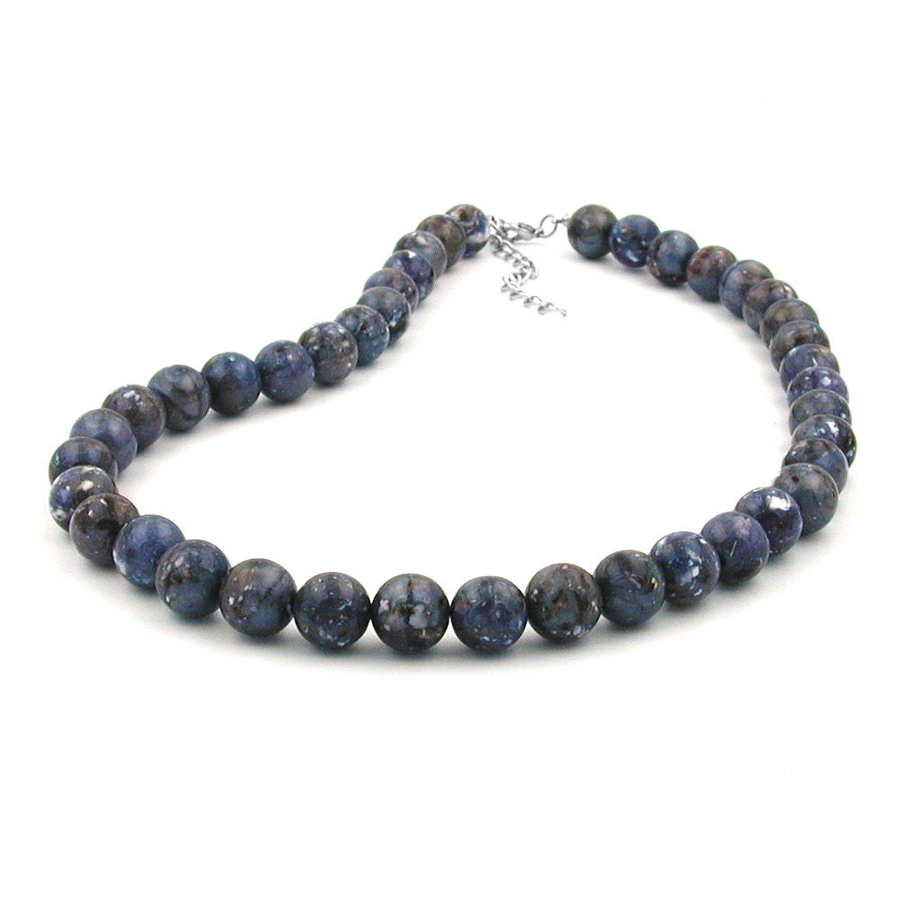 NECKLACE BEADS 12MM GREY-LILAC