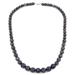 NECKLACE BEADS GREY/ LILAC 75CM