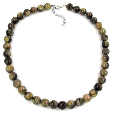 NECKLACE BEADS 12MM GREEN-BLACK 75CM