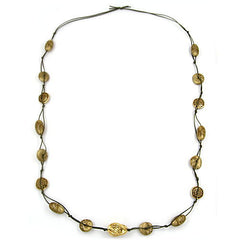 NECKLACE BAROQUE BEADS GREEN/ GOLD 100CM
