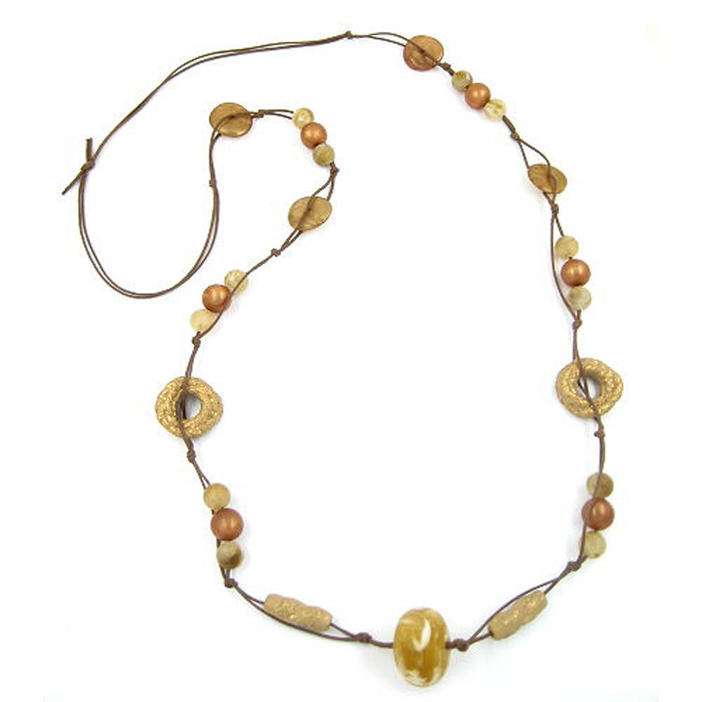 NECKLACE BROWN-SILK CERAMIC-GOLD-TONE 100CM