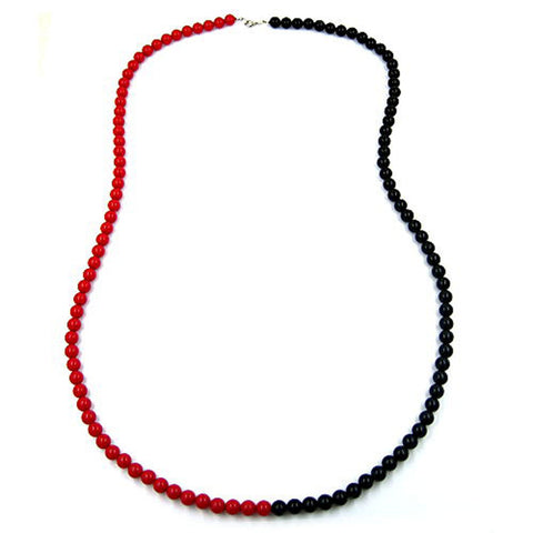 NECKLACE BEADS 8MM RED-BLACK 90CM