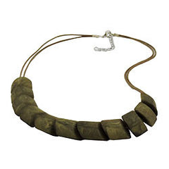 NECKLACE SLANTED BEADS OLIVE MARBLED CORD OLIVE 45CM