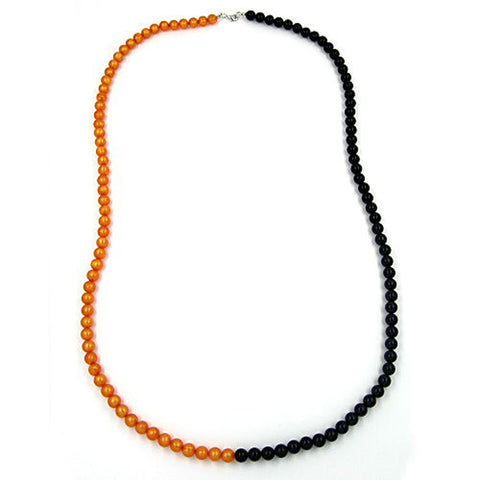 NECKLACE BEADS 8MM ORANGE-BLACK 90CM