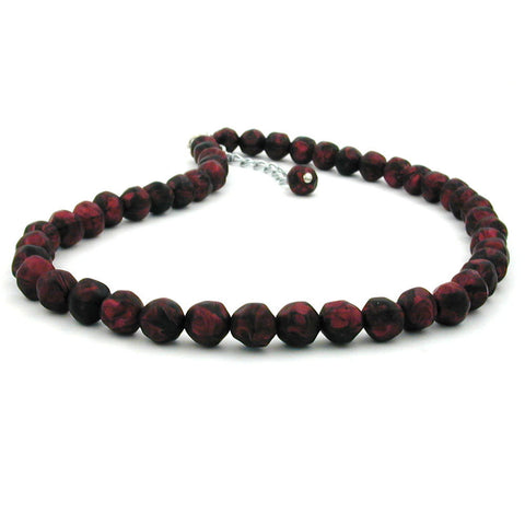 NECKLACE BAROQUE BEADS 8MM RED-BLACK 45CM