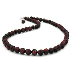 NECKLACE BAROQUE BEADS 8MM RED-BLACK 55CM