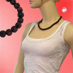 NECKLACE BAROQUE BEADS 10MM RED/BLACK MARBLED 50CM