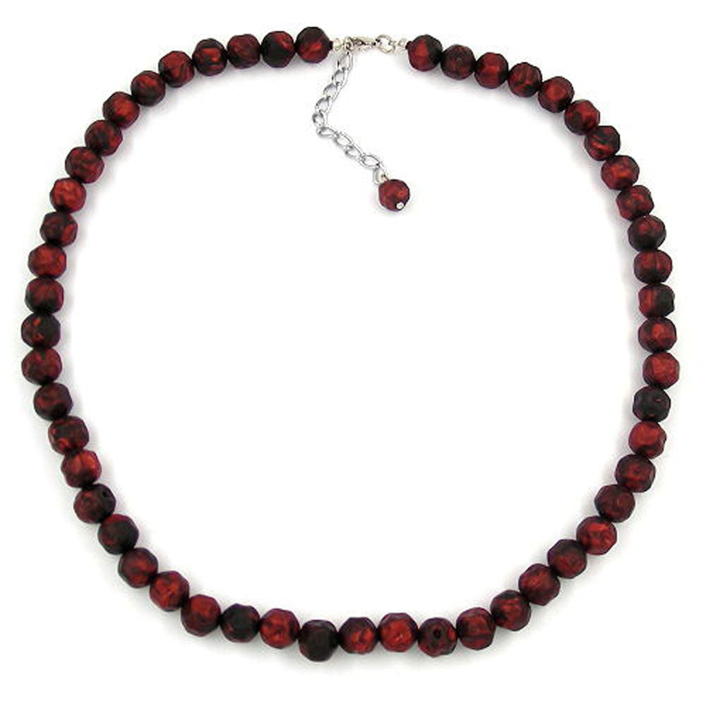 NECKLACE BAROQUE BEADS 10MM RED/BLACK MARBLED
