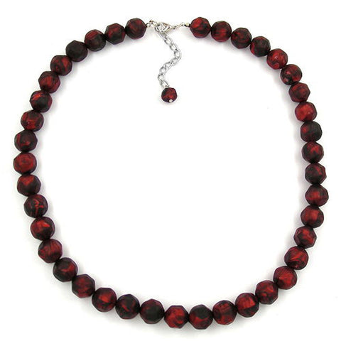 NECKLACE BAROQUE BEADS 12MM RED-BLACK 50CM