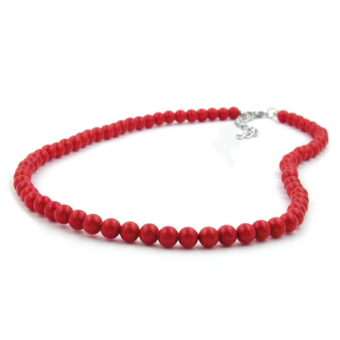 NECKLACE BEADS 6MM RED SHINY 42CM