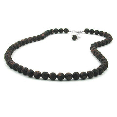 NECKLACE BAROQUE BEADS 8MM BROWN MARBLED 55CM