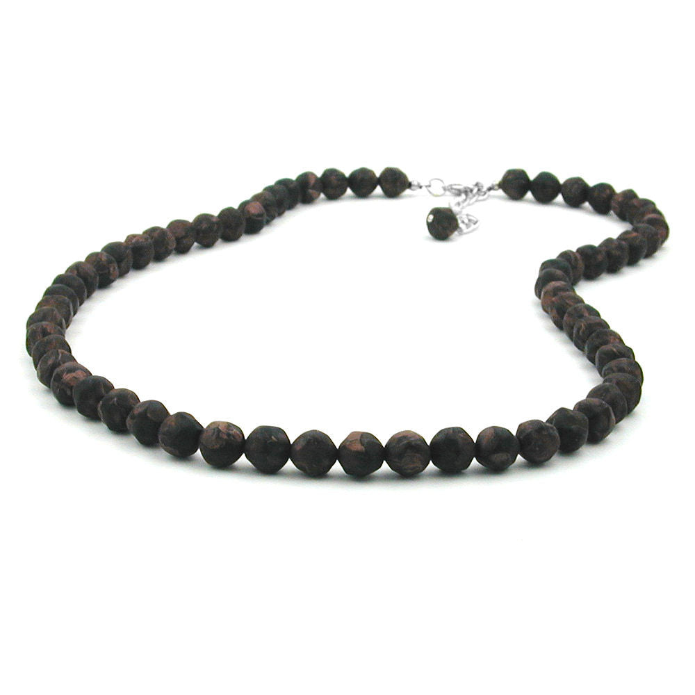 NECKLACE BAROQUE BEADS 8MM BROWN MARBLED