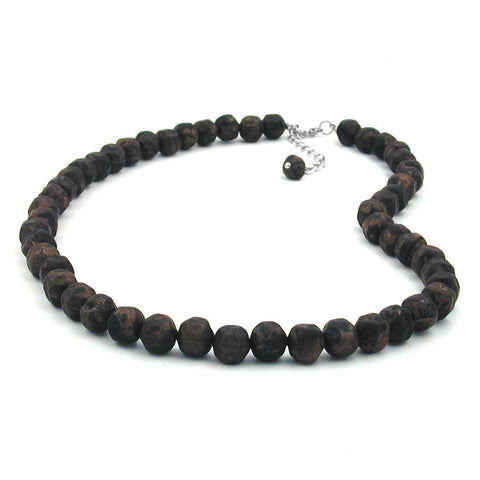NECKLACE BAROQUE BEADS 10MM BROWN MARBLED