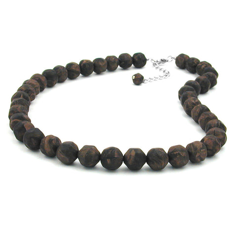 NECKLACE BAROQUE BEADS 12MM BROWN 50CM
