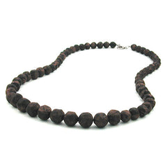 NECKLACE BAROQUE BEADS BROWN MARBLED 60CM