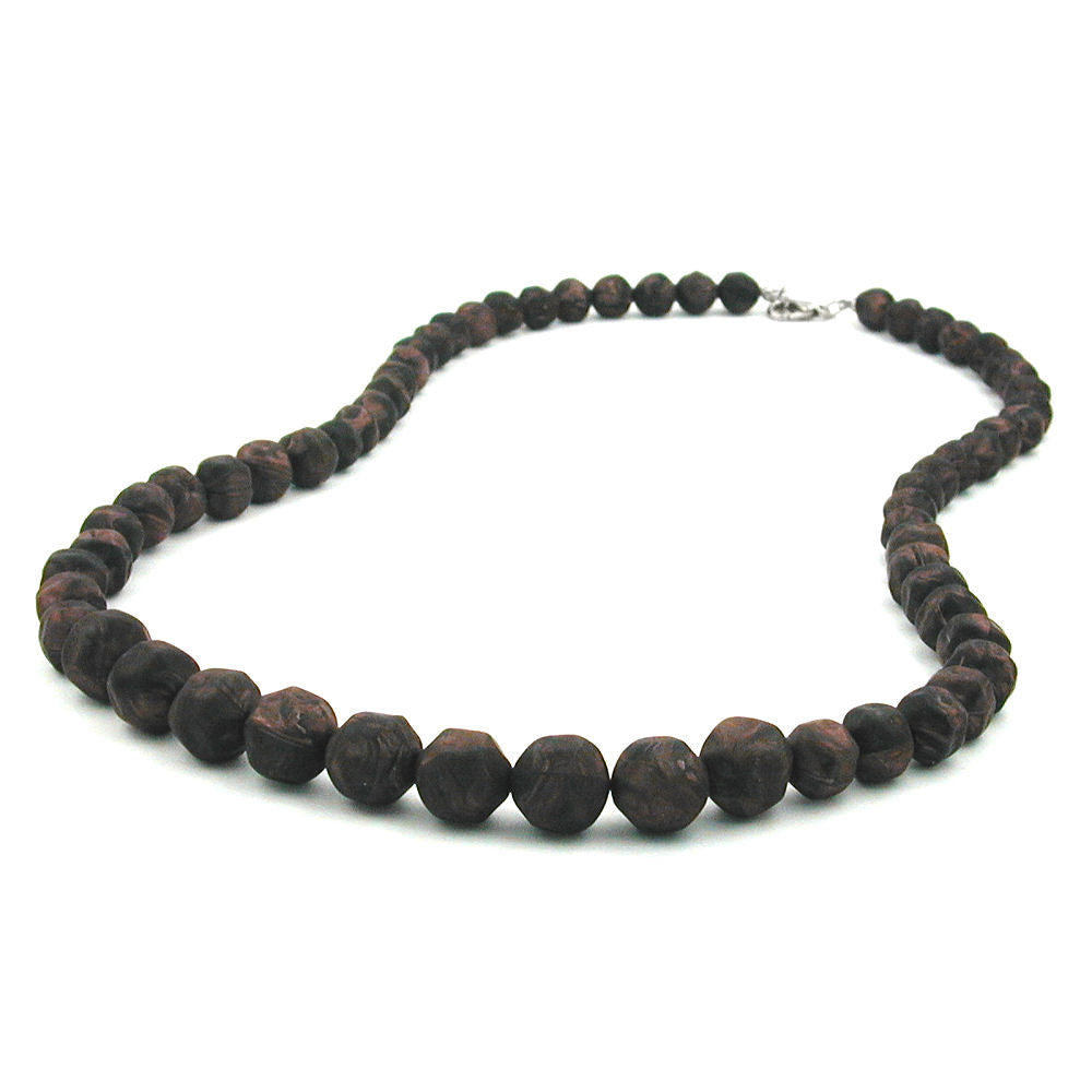 NECKLACE BAROQUE BEADS BROWN MARBLED
