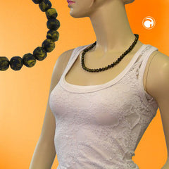 NECKLACE BAROQUE BEADS 8MM OLIVE-GREEN MARBLED 55CM