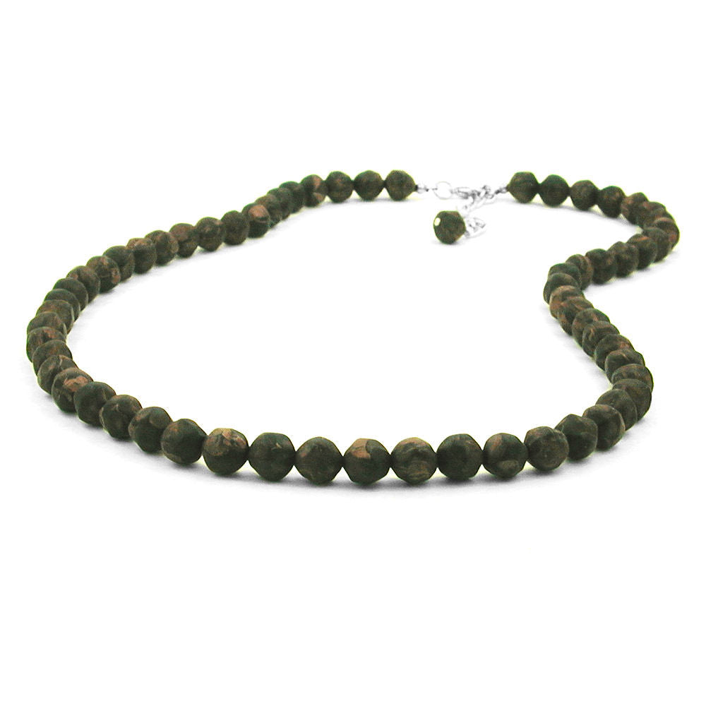 NECKLACE BAROQUE BEADS 8MM OLIVE-GREEN MARBLED