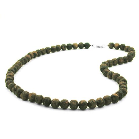NECKLACE BAROQUE BEADS 10MM OLIVE-GREEN MARBLED