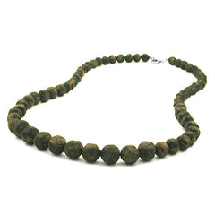 NECKLACE BAROQUE BEADS OLIVE-GREEN MARBLED 60CM