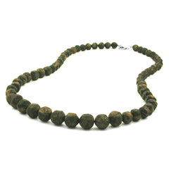 NECKLACE BAROQUE BEADS OLIVE-GREEN MARBLED