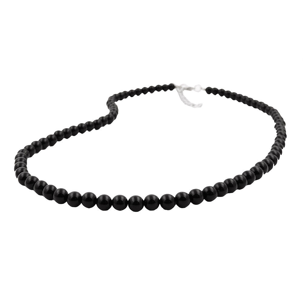 NECKLACE BEADS 6MM BLACK 55CM