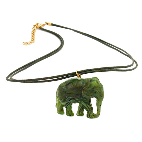 NECKLACE ELEPHANT GREEN/ OLIVE