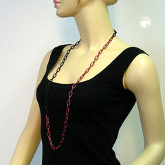 NECKLACE ANCHOR CHAIN 8MM RED/ BLACK 100CM