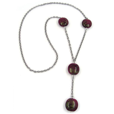 NECKLACE NUGGETS PURPLE 100CM