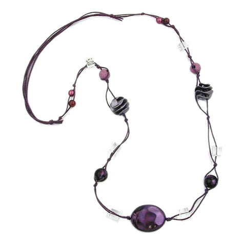 NECKLACE OLIVE PURPLE-SILK 100CM