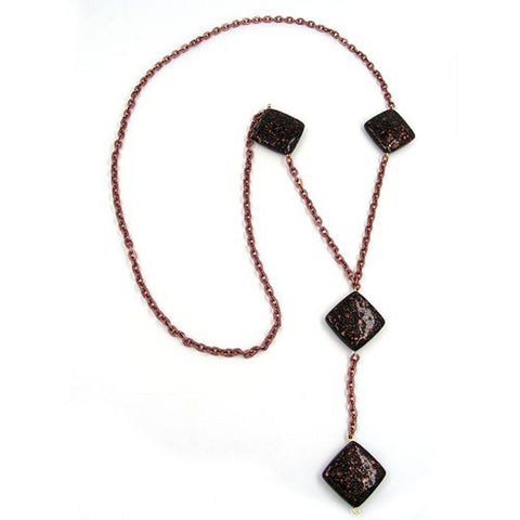 NECKLACE SQUARE BLACK-COPPER-TONE 100CM