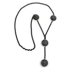 NECKLACE EYE-CATCHING BEADS GREY 100CM