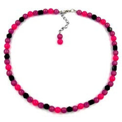 NECKLACE BEADS 8MM PINK/ BLACK 45CM