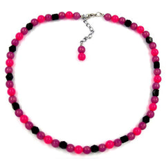 NECKLACE BEADS 8MM PINK/ BLACK